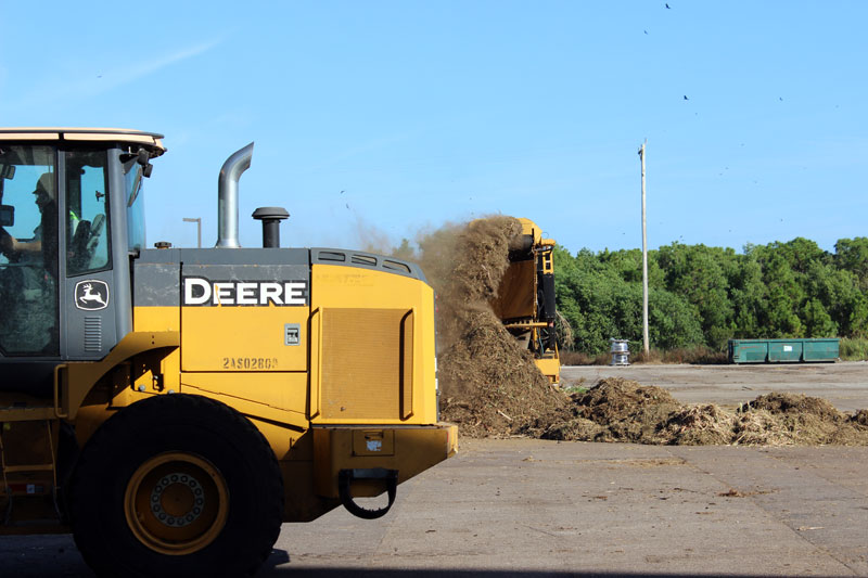 Our operators in Punta Gorda, FL turning yard waste and biosolids into compost