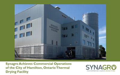 Synagro Achieves Commercial Operations of the City of Hamilton, Ontario Thermal Drying Facility